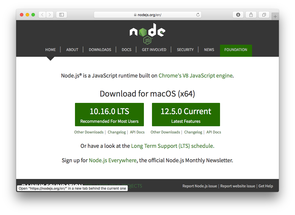 The Node Download page